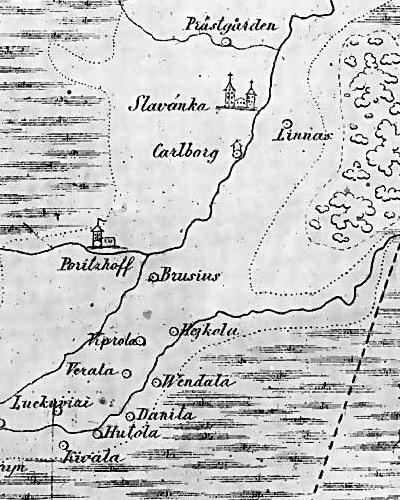 Шведская карта середины XVII века. В центре сохранившиеся до наших дней  деревни Порицы, Гайколово, Киволово.