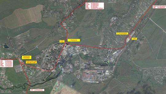 Схема маршрутов города Коммунар
